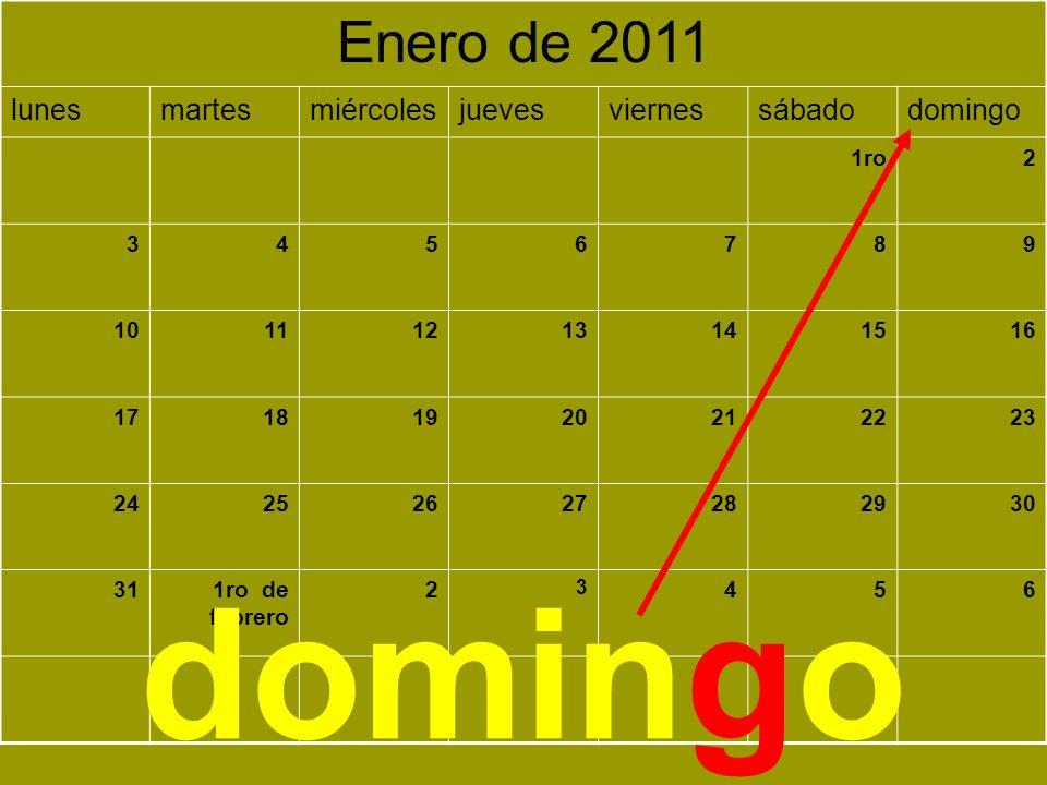 domingo Enero de 2011 lunes martes miércoles jueves viernes sábado