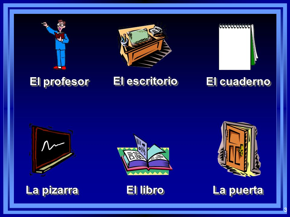 El profesor El escritorio El cuaderno La pizarra El libro La puerta