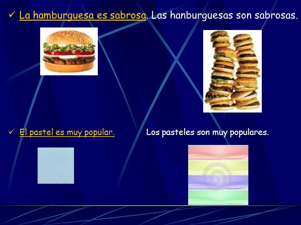 La hamburguesa es sabrosa. Las hanburguesas son sabrosas.
