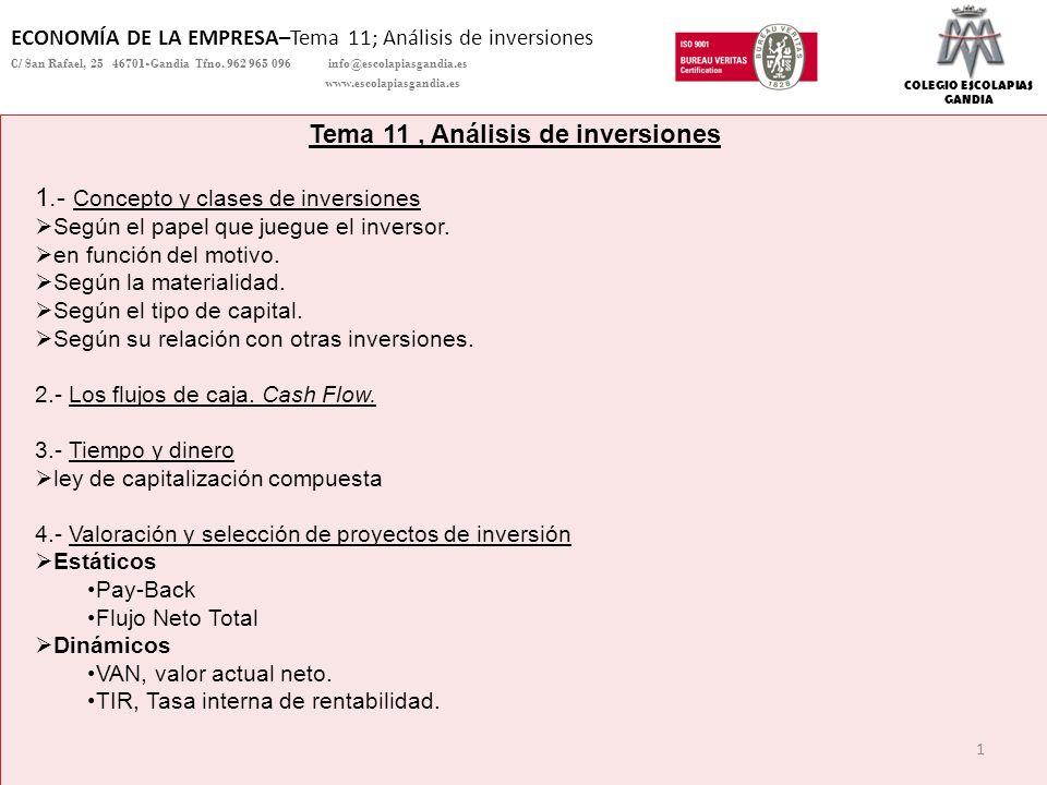 Tema 11 , Análisis de inversiones