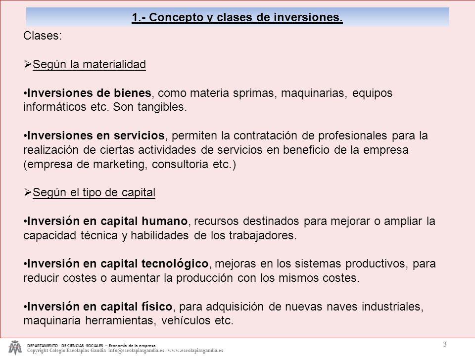 1.- Concepto y clases de inversiones.