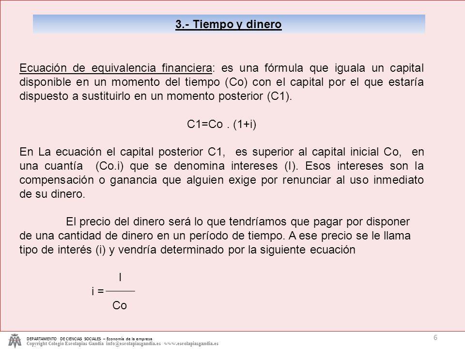 3.- Tiempo y dinero DEPARTAMENTO DE CIENCIAS SOCIALES – Economía de la empresa.