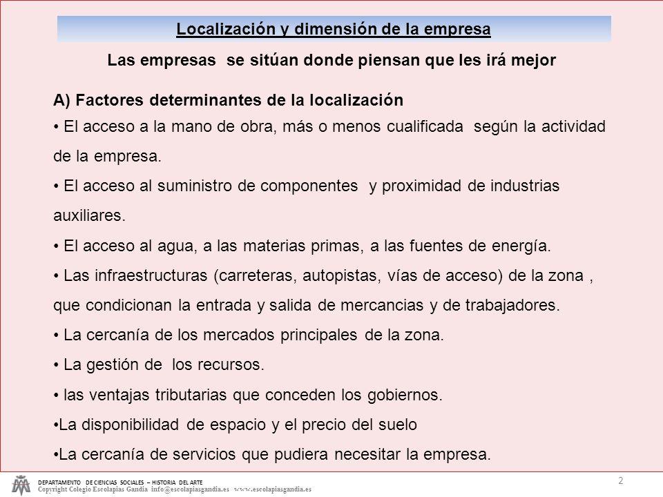 Localización y dimensión de la empresa