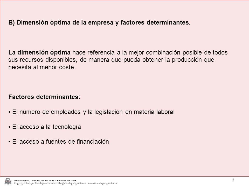 B) Dimensión óptima de la empresa y factores determinantes.