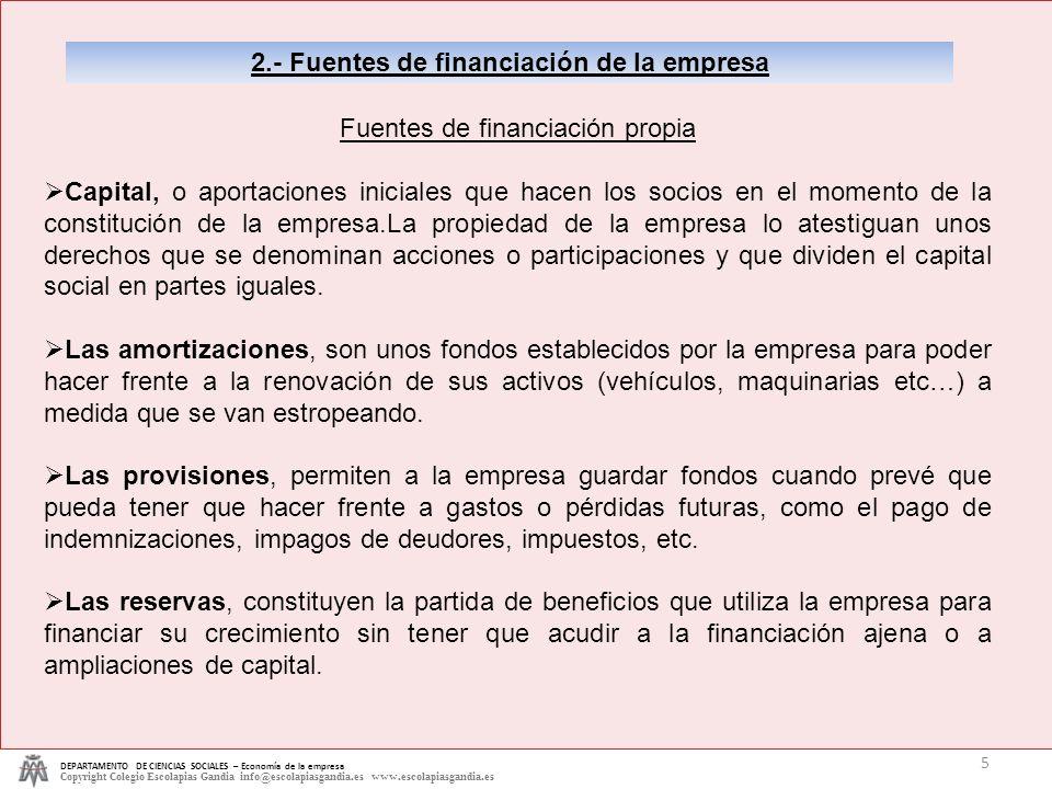 2.- Fuentes de financiación de la empresa