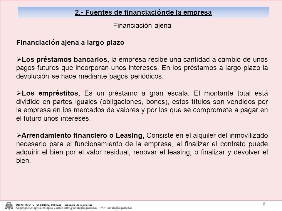 2.- Fuentes de financiaciónde la empresa