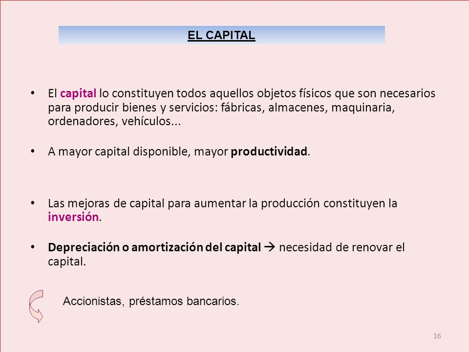 A mayor capital disponible, mayor productividad.