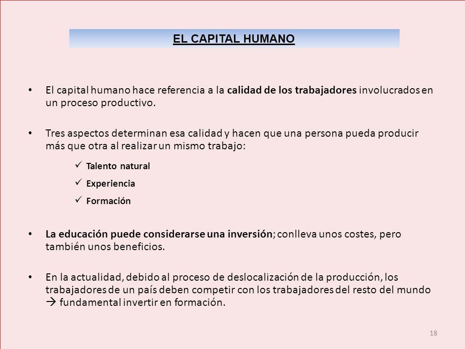 EL CAPITAL HUMANO El capital humano hace referencia a la calidad de los trabajadores involucrados en un proceso productivo.