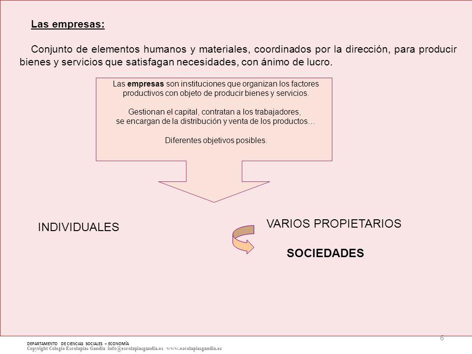 VARIOS PROPIETARIOS INDIVIDUALES SOCIEDADES Las empresas: