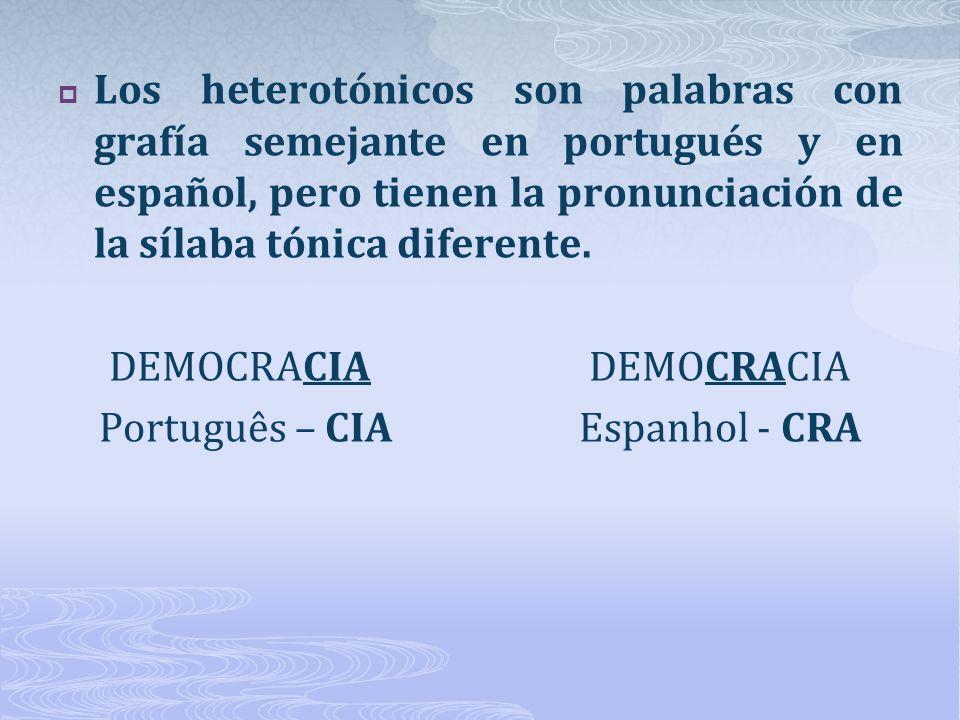 DEMOCRACIA DEMOCRACIA Português – CIA Espanhol - CRA