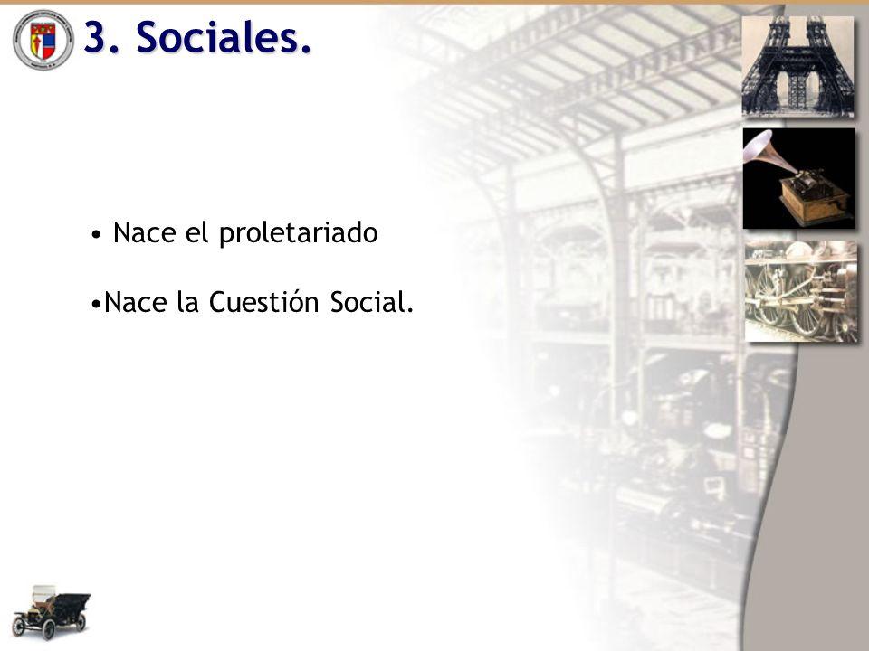 3. Sociales. Nace el proletariado Nace la Cuestión Social.