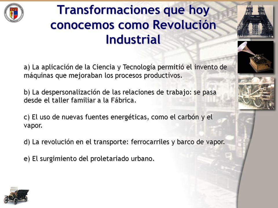 Transformaciones que hoy conocemos como Revolución Industrial