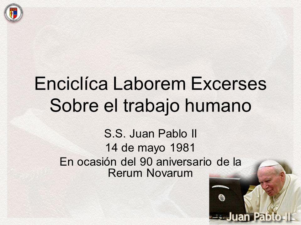 Enciclíca Laborem Excerses Sobre el trabajo humano