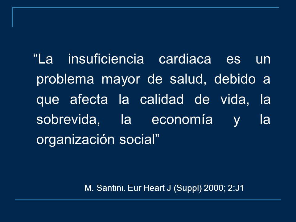 La insuficiencia cardiaca es un problema mayor de salud, debido a que afecta la calidad de vida, la sobrevida, la economía y la organización social