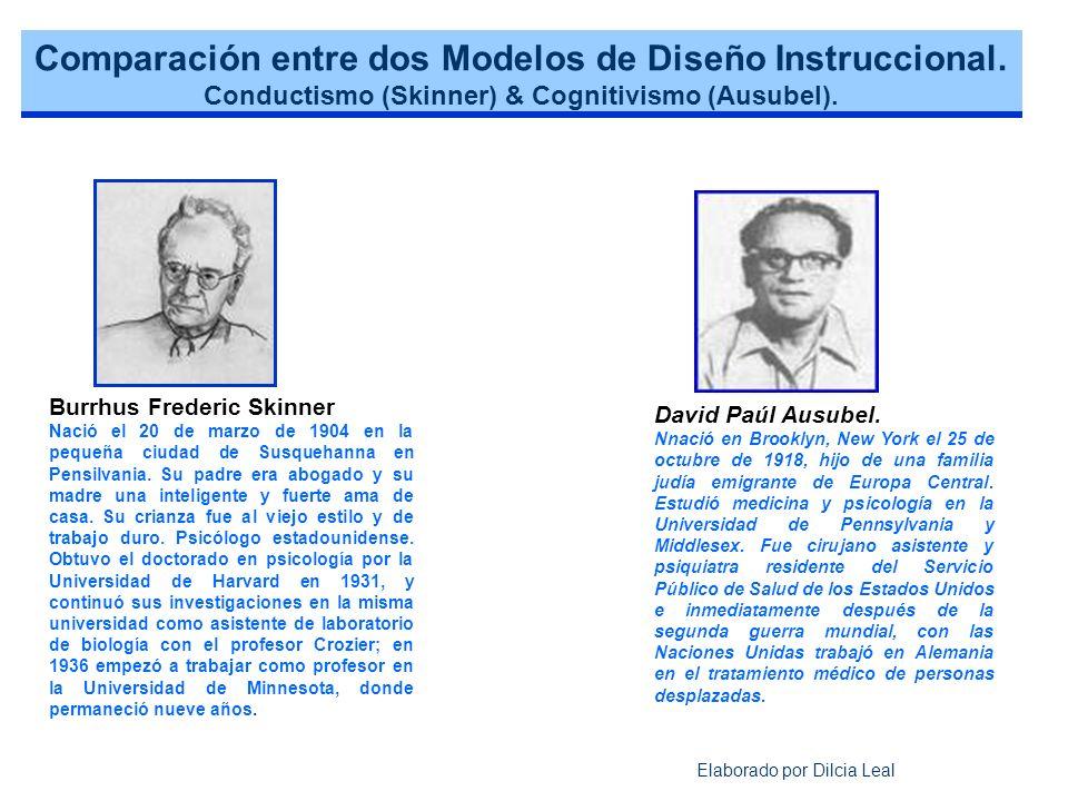 Comparación entre dos Modelos de Diseño Instruccional.