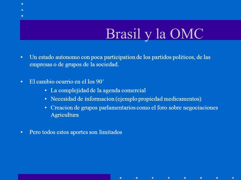 Brasil y la OMCUn estado autonomo con poca participation de los partidos politicos, de las empresas o de grupos de la sociedad.