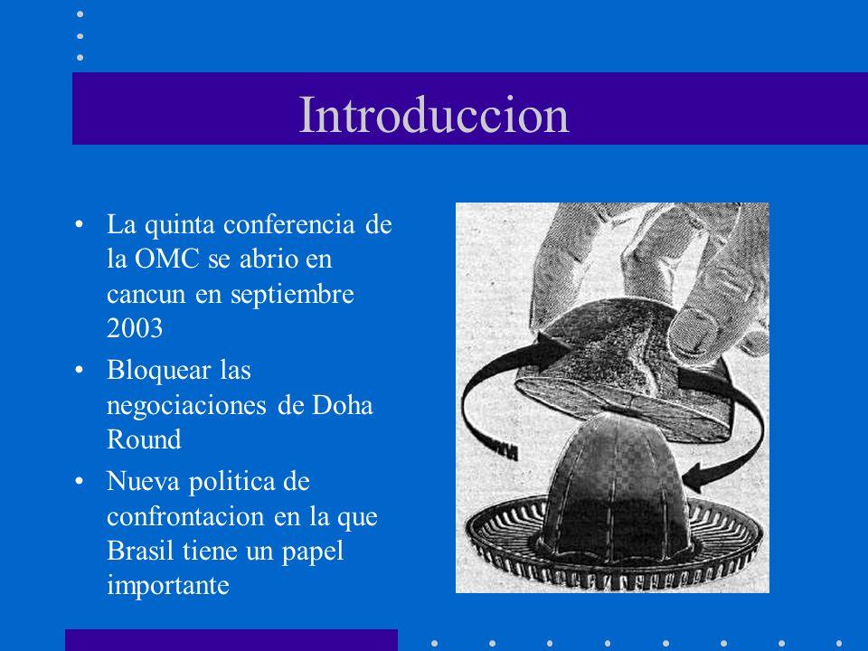 Introduccion La quinta conferencia de la OMC se abrio en cancun en septiembre 2003. Bloquear las negociaciones de Doha Round.