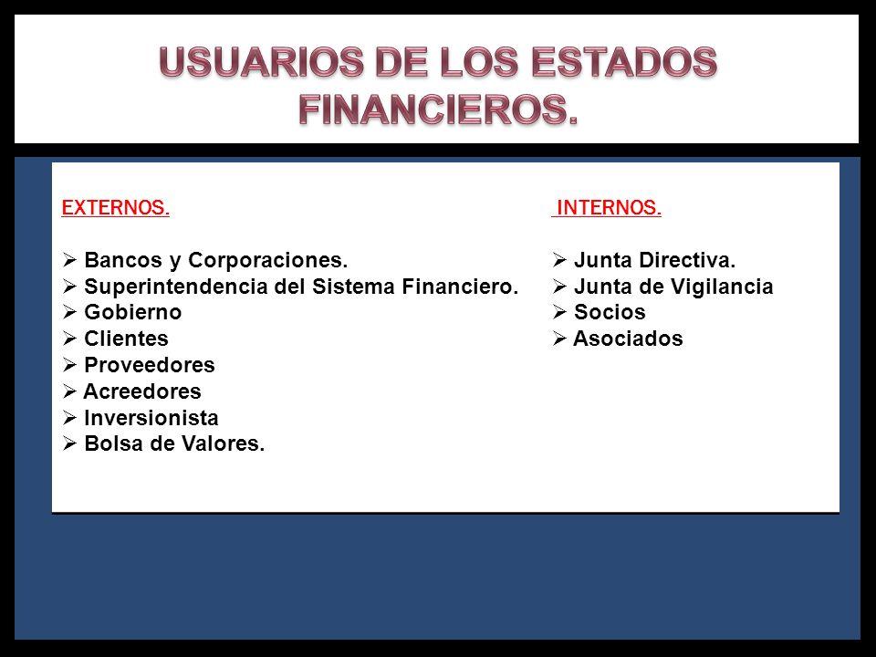 USUARIOS DE LOS ESTADOS FINANCIEROS.