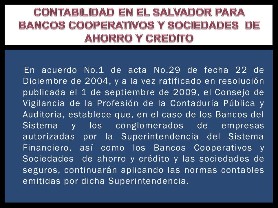 CONTABILIDAD EN EL SALVADOR PARA BANCOS COOPERATIVOS Y SOCIEDADES DE AHORRO Y CREDITO