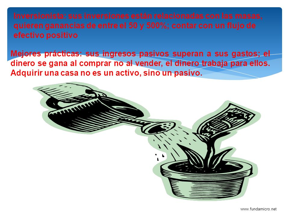 Inversionista: sus inversiones están relacionadas con las masas, quieren ganancias de entre el 50 y 500%; contar con un flujo de efectivo positivo