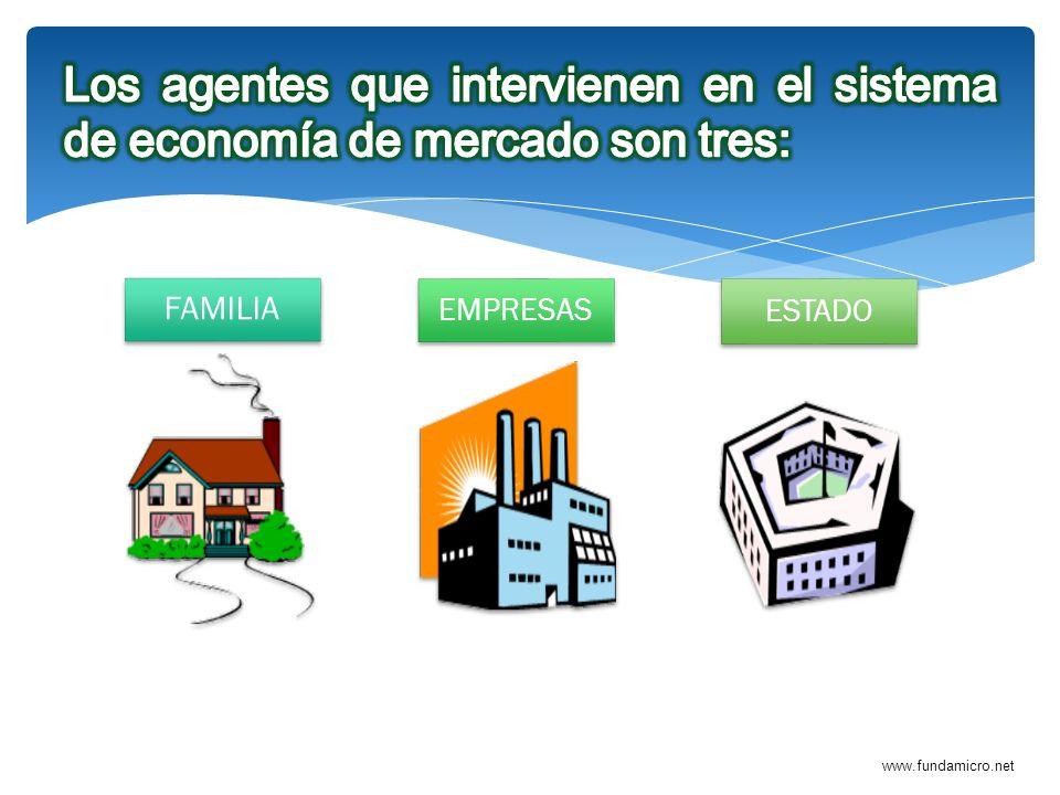 Los agentes que intervienen en el sistema de economía de mercado son tres: