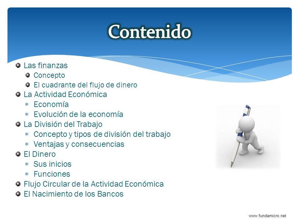 Contenido Las finanzas La Actividad Económica Economía