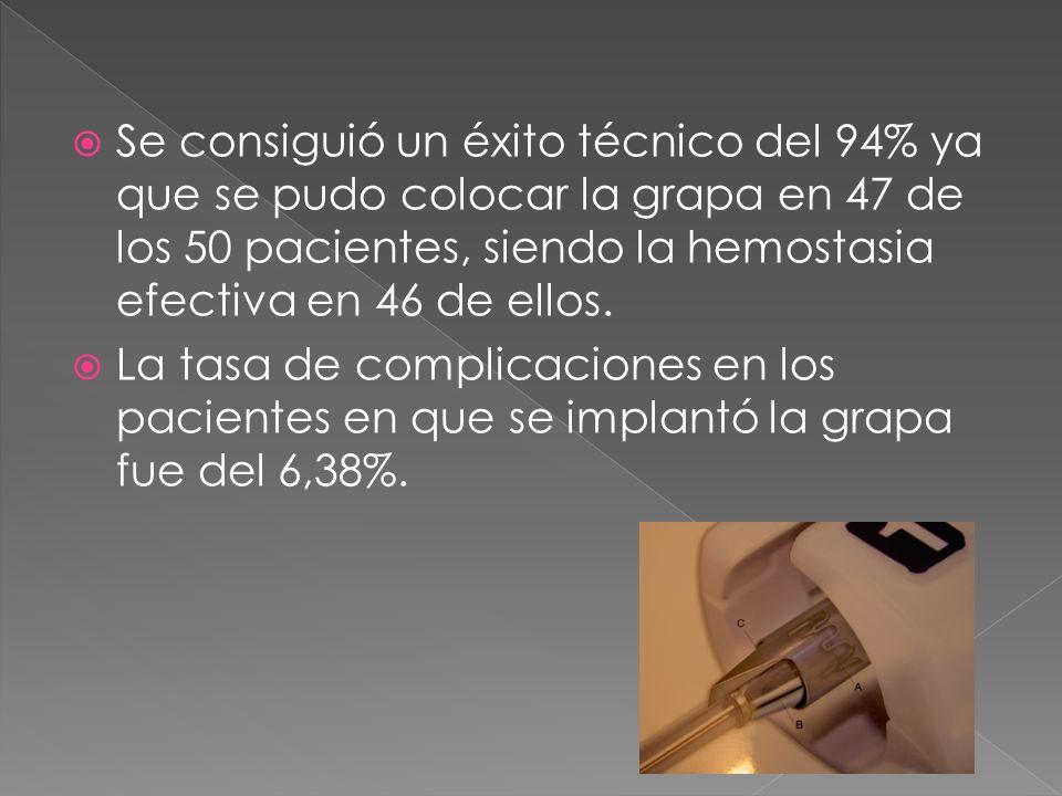 Se consiguió un éxito técnico del 94% ya que se pudo colocar la grapa en 47 de los 50 pacientes, siendo la hemostasia efectiva en 46 de ellos.