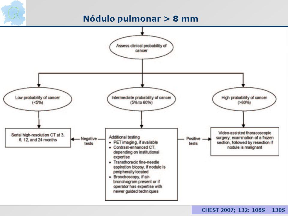 Nódulo pulmonar > 8 mm