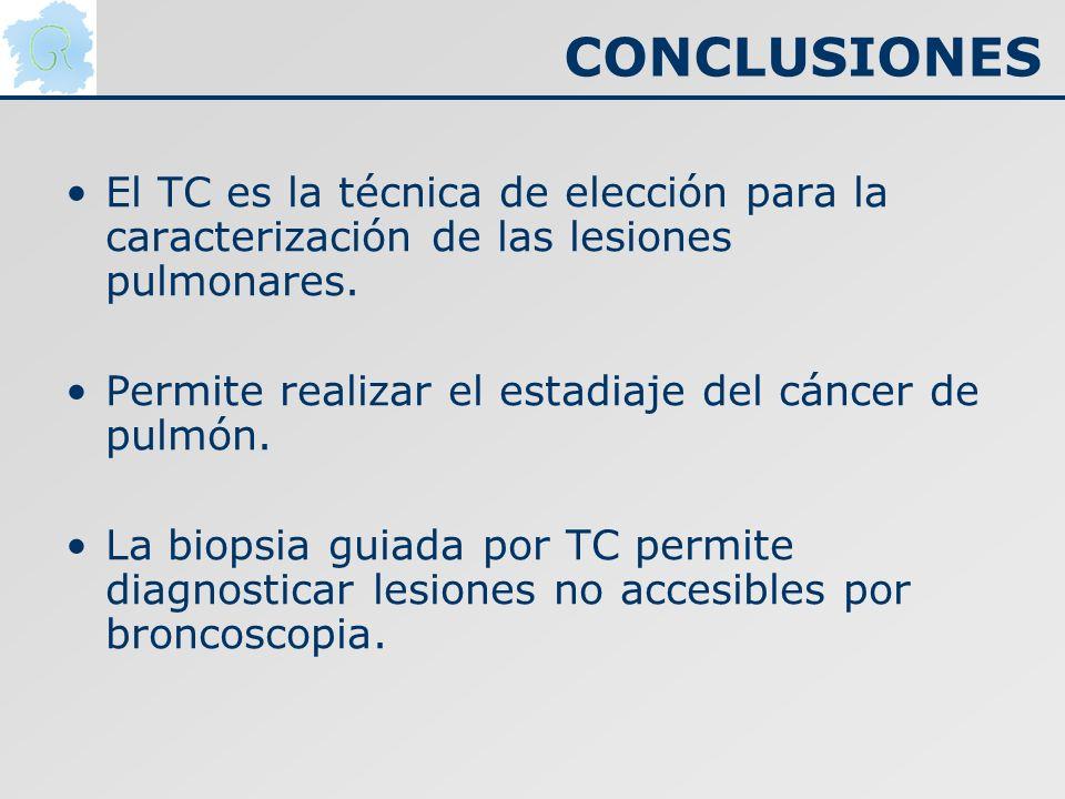 CONCLUSIONES El TC es la técnica de elección para la caracterización de las lesiones pulmonares. Permite realizar el estadiaje del cáncer de pulmón.