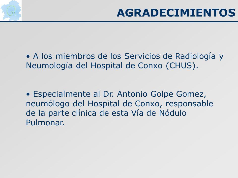 AGRADECIMIENTOSA los miembros de los Servicios de Radiología y Neumología del Hospital de Conxo (CHUS).