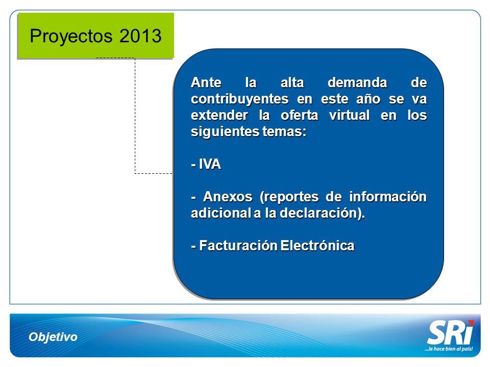 Proyectos 2013 Ante la alta demanda de contribuyentes en este año se va extender la oferta virtual en los siguientes temas: