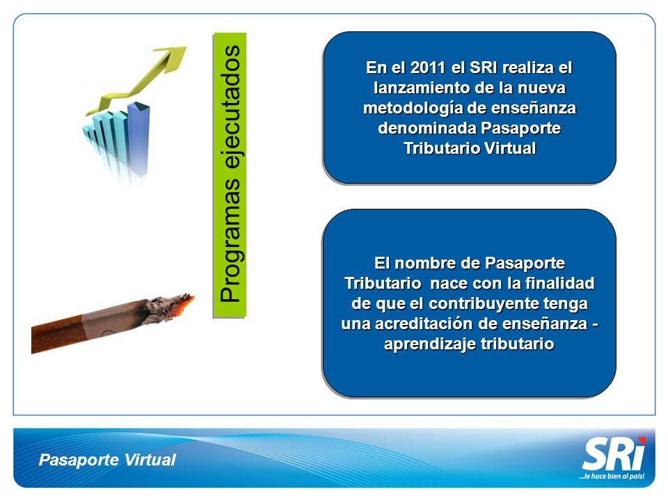 En el 2011 el SRI realiza el lanzamiento de la nueva metodología de enseñanza denominada Pasaporte Tributario Virtual
