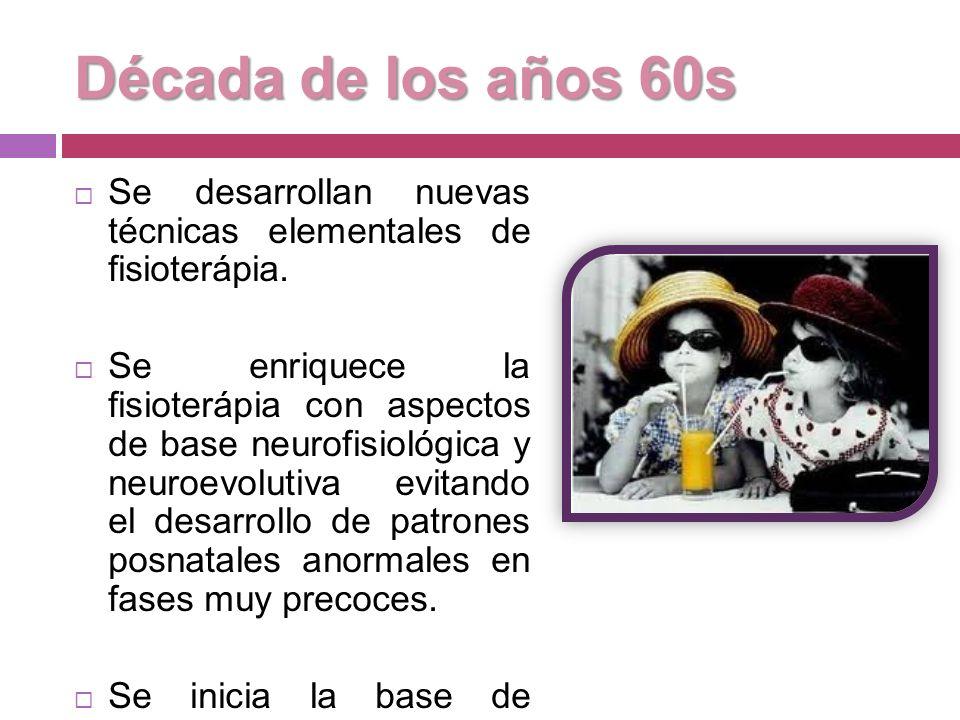 Década de los años 60s Se desarrollan nuevas técnicas elementales de fisioterápia.