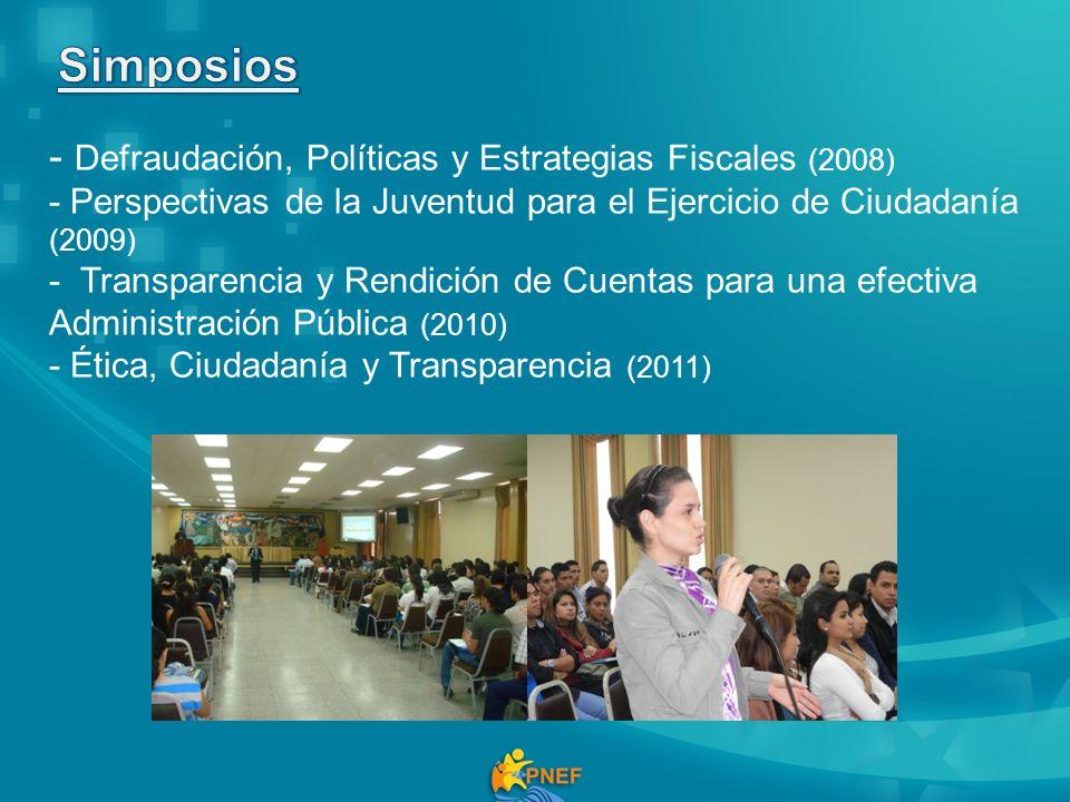 - Defraudación, Políticas y Estrategias Fiscales (2008) - Perspectivas de la Juventud para el Ejercicio de Ciudadanía (2009) - Transparencia y Rendición de Cuentas para una efectiva Administración Pública (2010) - Ética, Ciudadanía y Transparencia (2011)