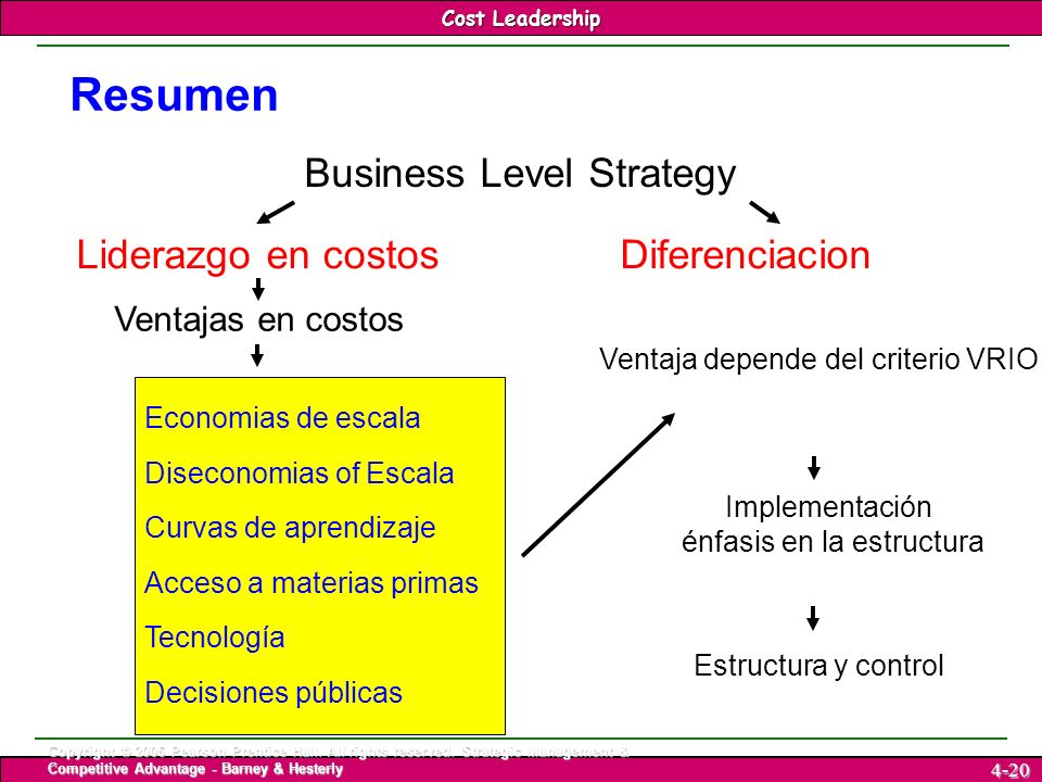 Resumen Business Level Strategy Liderazgo en costos Diferenciacion