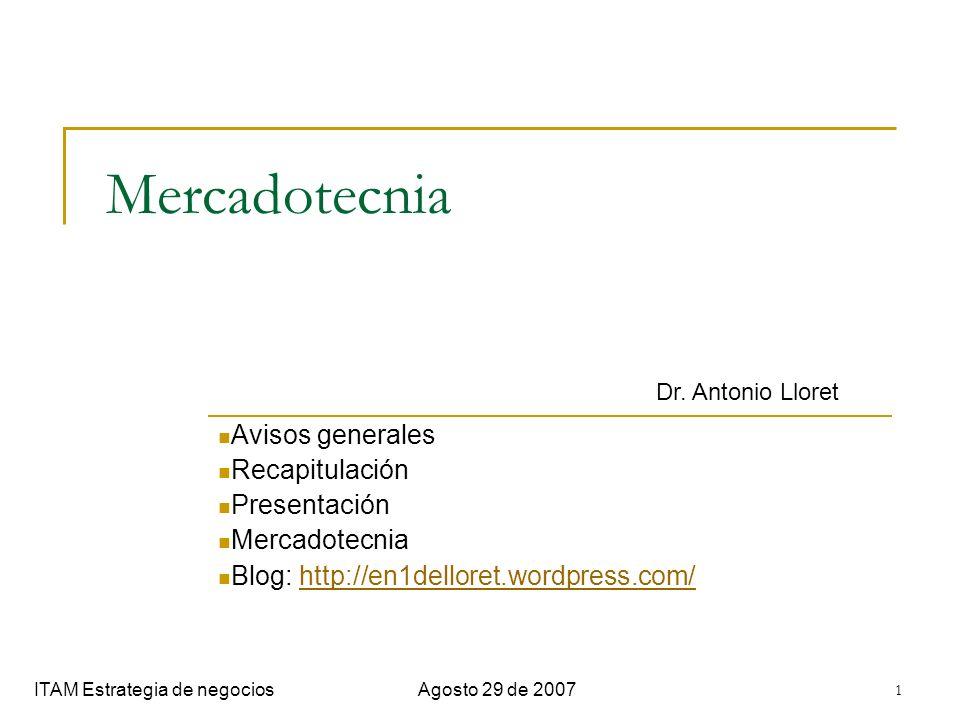 Mercadotecnia Avisos generales Recapitulación Presentación
