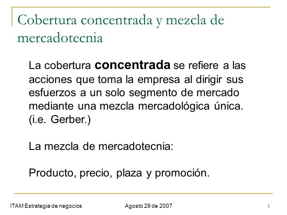 Cobertura concentrada y mezcla de mercadotecnia