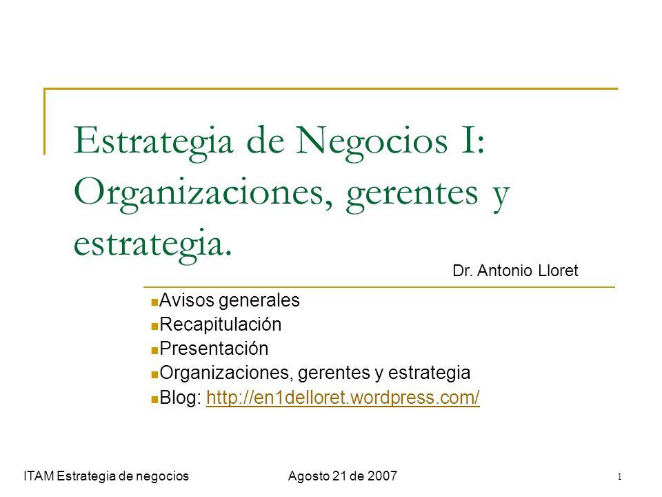Estrategia de Negocios I: Organizaciones, gerentes y estrategia.