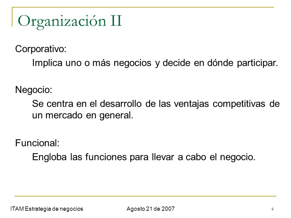 Organización II Corporativo: