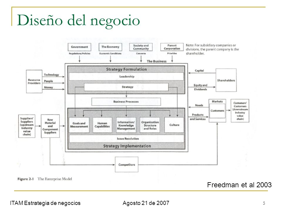 Diseño del negocio Freedman et al 2003