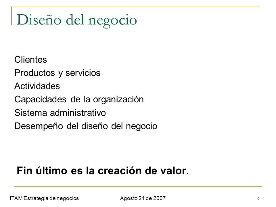 Diseño del negocio Fin último es la creación de valor. Clientes