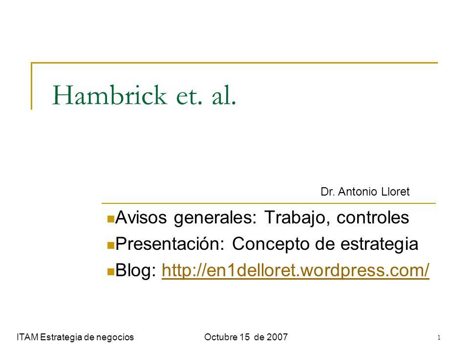 Hambrick et. al. Avisos generales: Trabajo, controles
