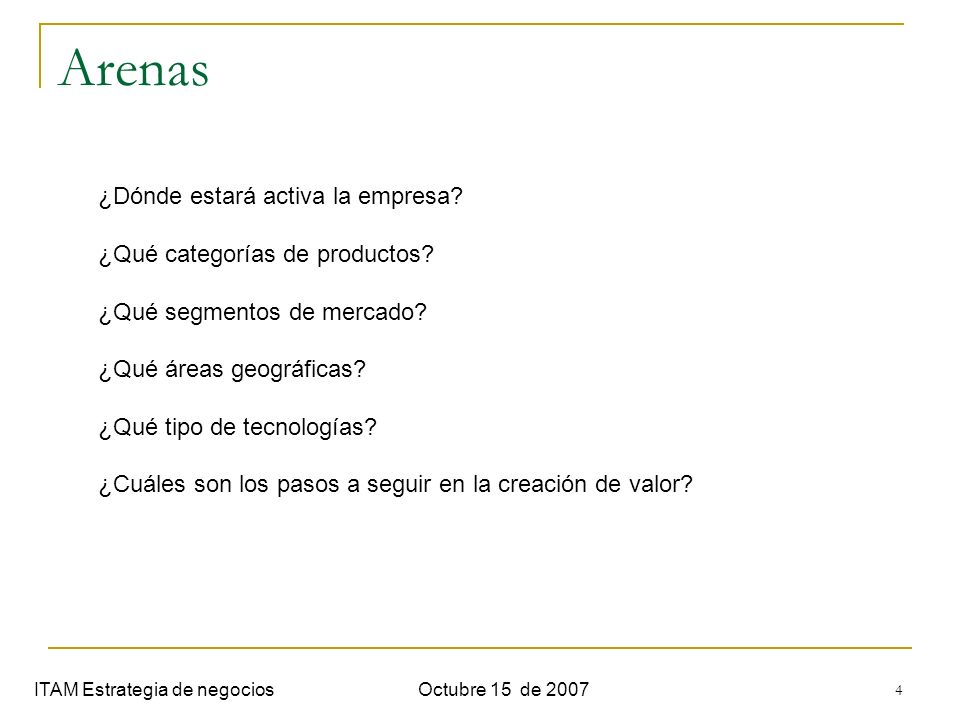 Arenas ¿Dónde estará activa la empresa ¿Qué categorías de productos