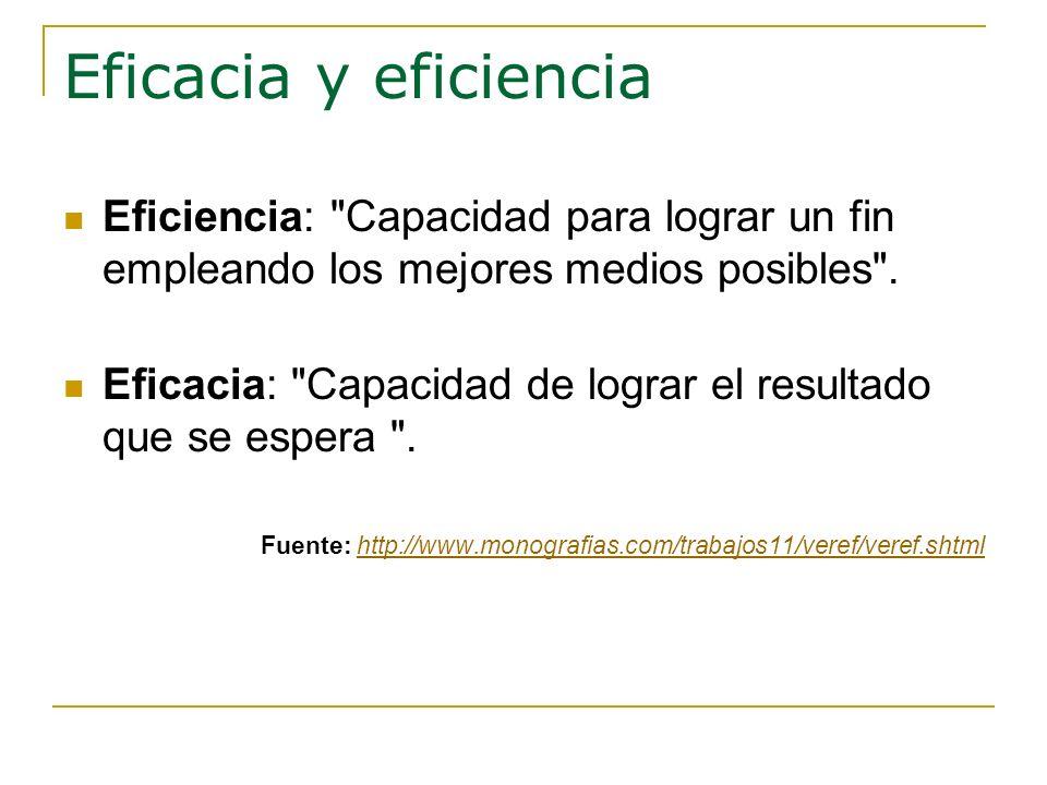 Eficacia y eficiencia Eficiencia: Capacidad para lograr un fin empleando los mejores medios posibles .