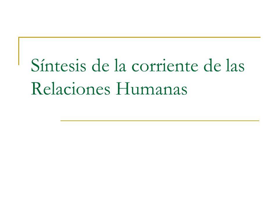 Síntesis de la corriente de las Relaciones Humanas