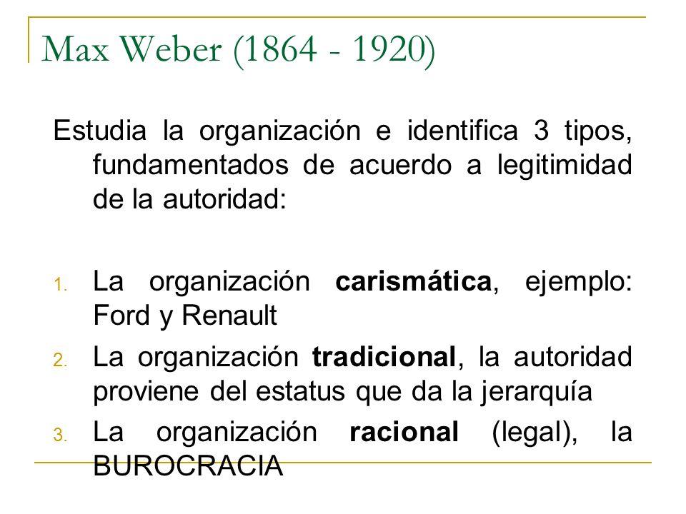 Max Weber (1864 - 1920) Estudia la organización e identifica 3 tipos, fundamentados de acuerdo a legitimidad de la autoridad: