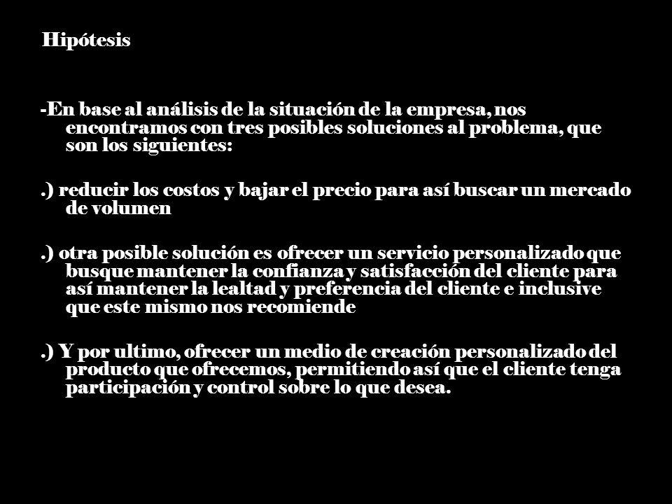 -Hipótesis -En base al análisis de la situación de la empresa, nos encontramos con tres posibles soluciones al problema, que son los siguientes: