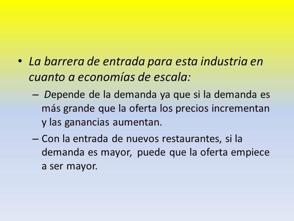 La barrera de entrada para esta industria en cuanto a economías de escala:
