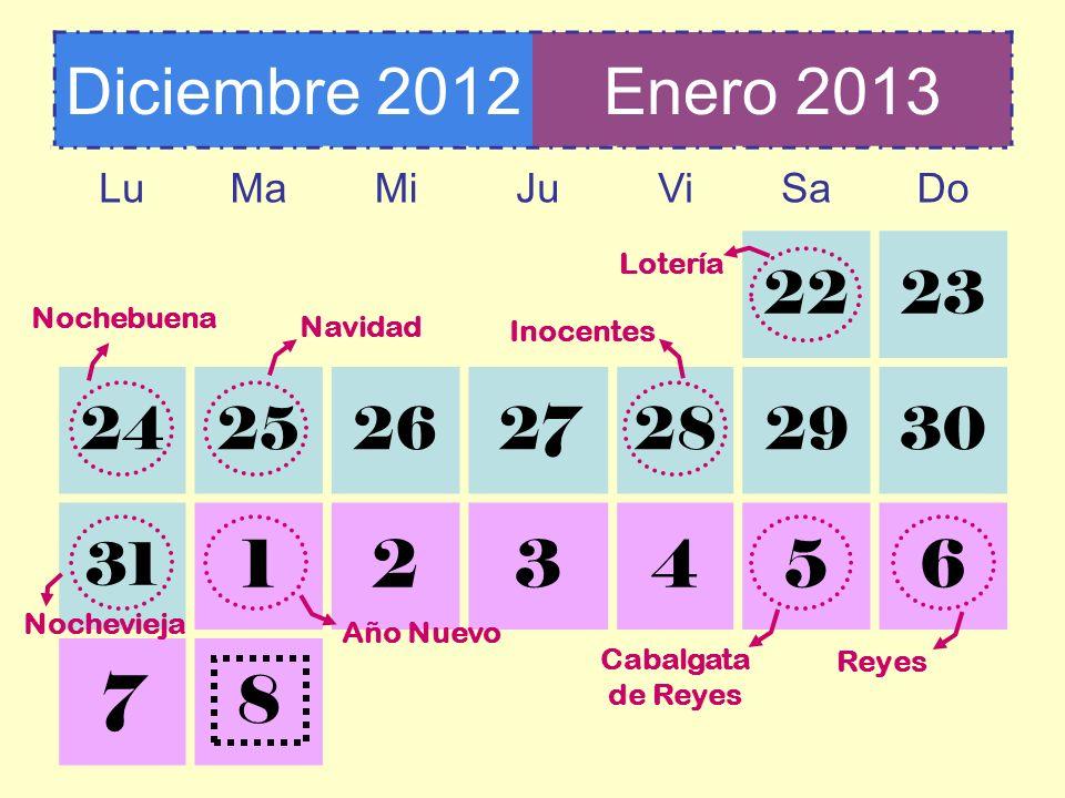 Diciembre 2012 Enero 2013. Lu. Ma. Mi. Ju. Vi. Sa. Do. 22. 23. 24. 25. 26. 27. 28. 29.