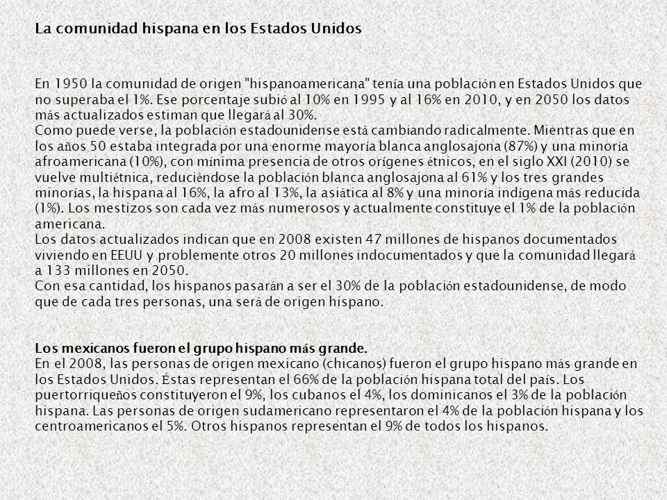 La comunidad hispana en los Estados Unidos